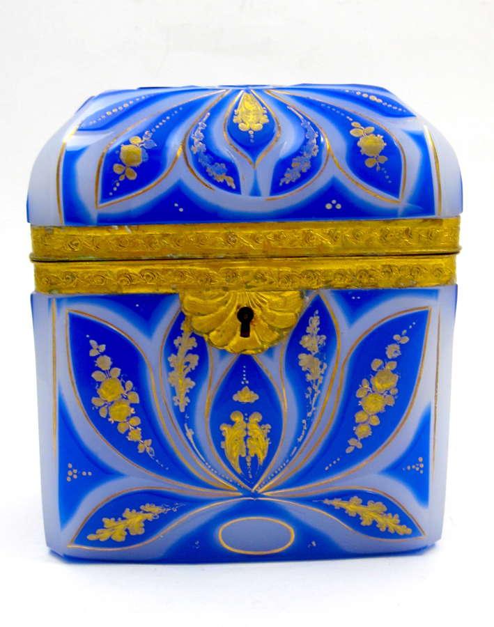 Super High Quality Bohemian Blue Overlay Opaline 'Barfatan'Casket