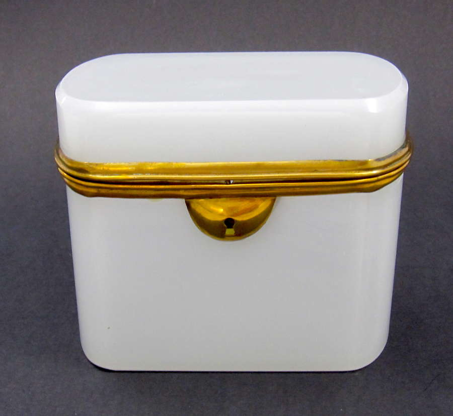 Antique French WhiteOpaline Glass Casket with Dore Bronze Mounts