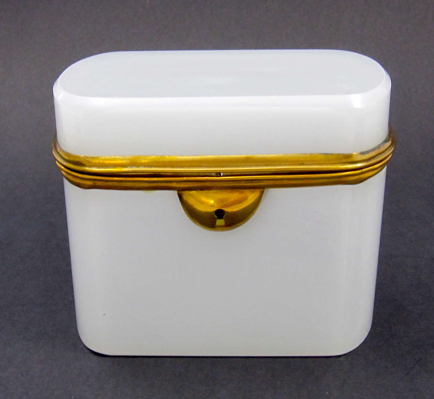 Antique French White Opaline Glass Casket with Dore Bronze Mounts