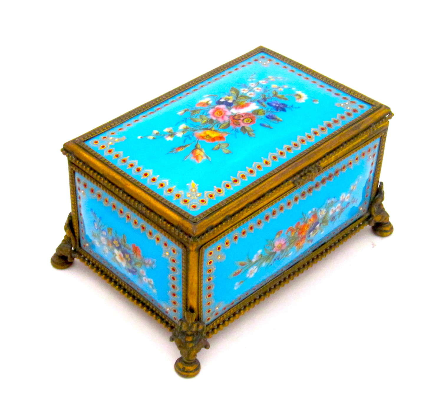 Palais Royal Antique Turquoise  Jewel Casket with Enamelled Panels