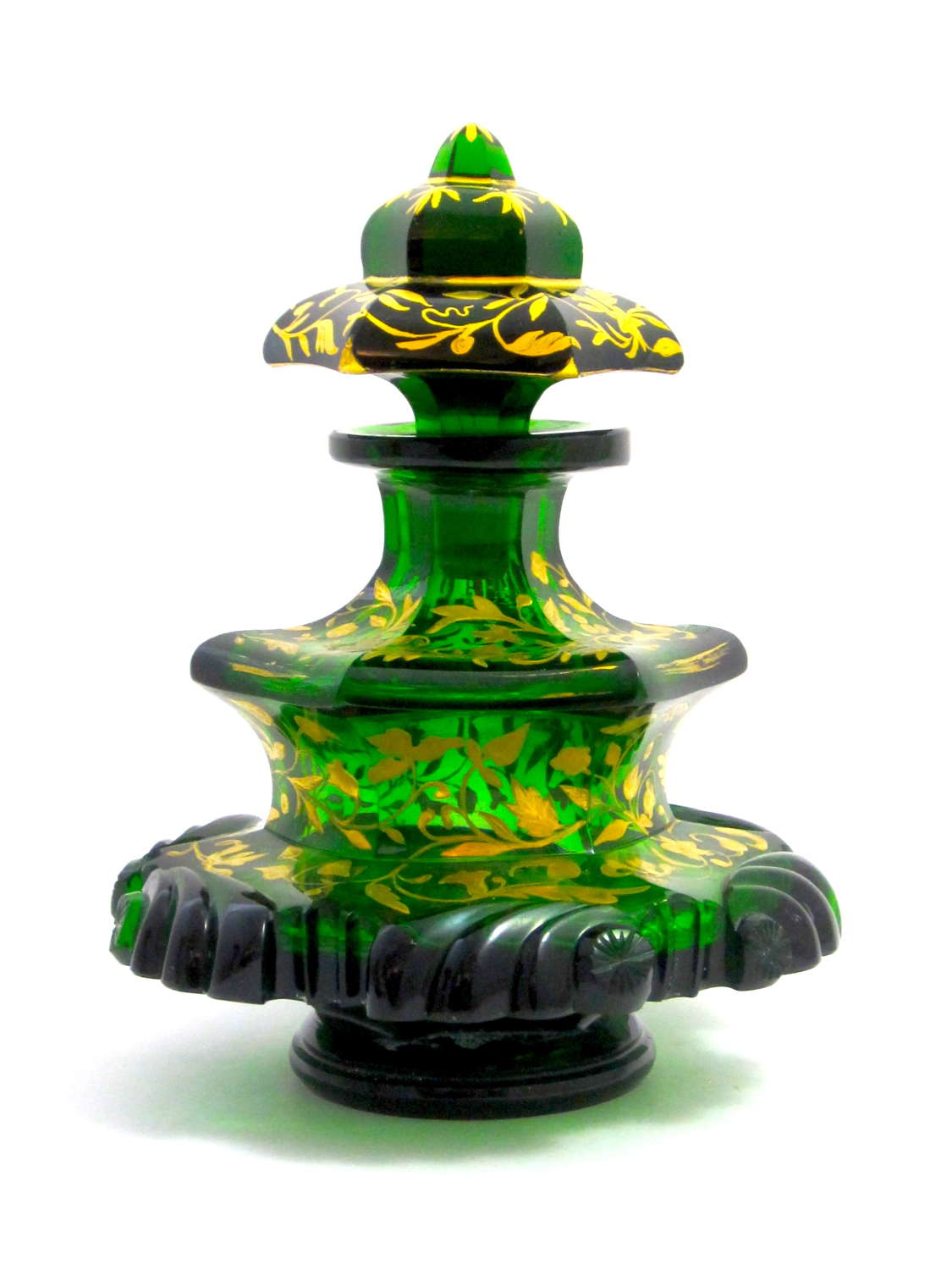 A Large Antique Bohemian Deep Emerald Crystal Perfume Bottle