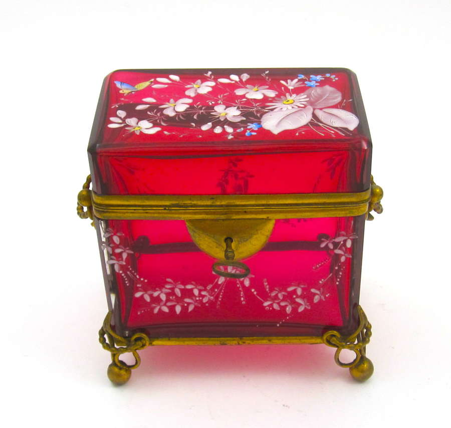 Antique MOSER Cranberry Red Casket Box with Butterfly