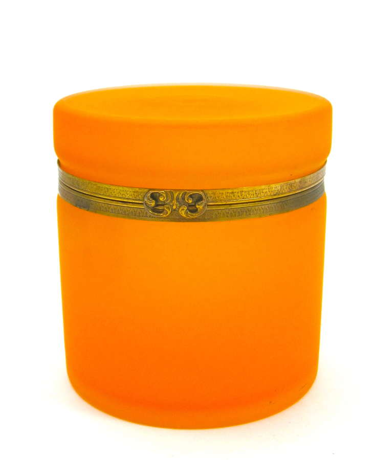 Unusual Antique Tangerine Glass Casket with Dore Bronze Mounts.