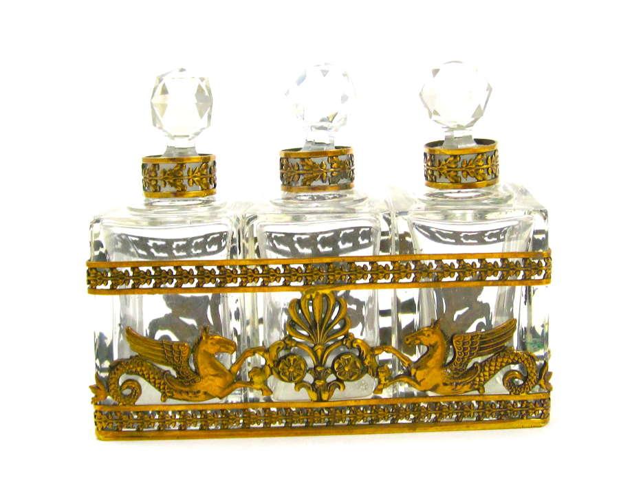 Napoleon III Dore Bronze and Crystal Perfume Set