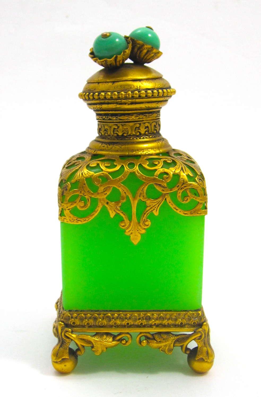 RARE Antique Palais Royal Green Opaline Glass Perfume Bottle
