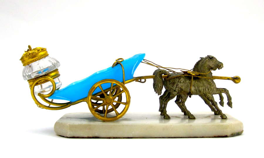 Antique Palais Royal Dore Bronze and Blue Opaline Glass Carriage