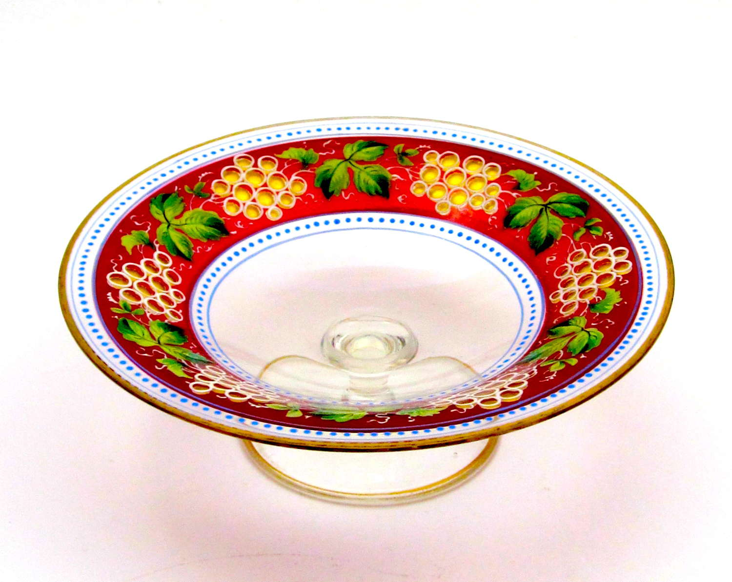 High Quality Antique Bohemian MOSER Enamelled Tazza Dish.
