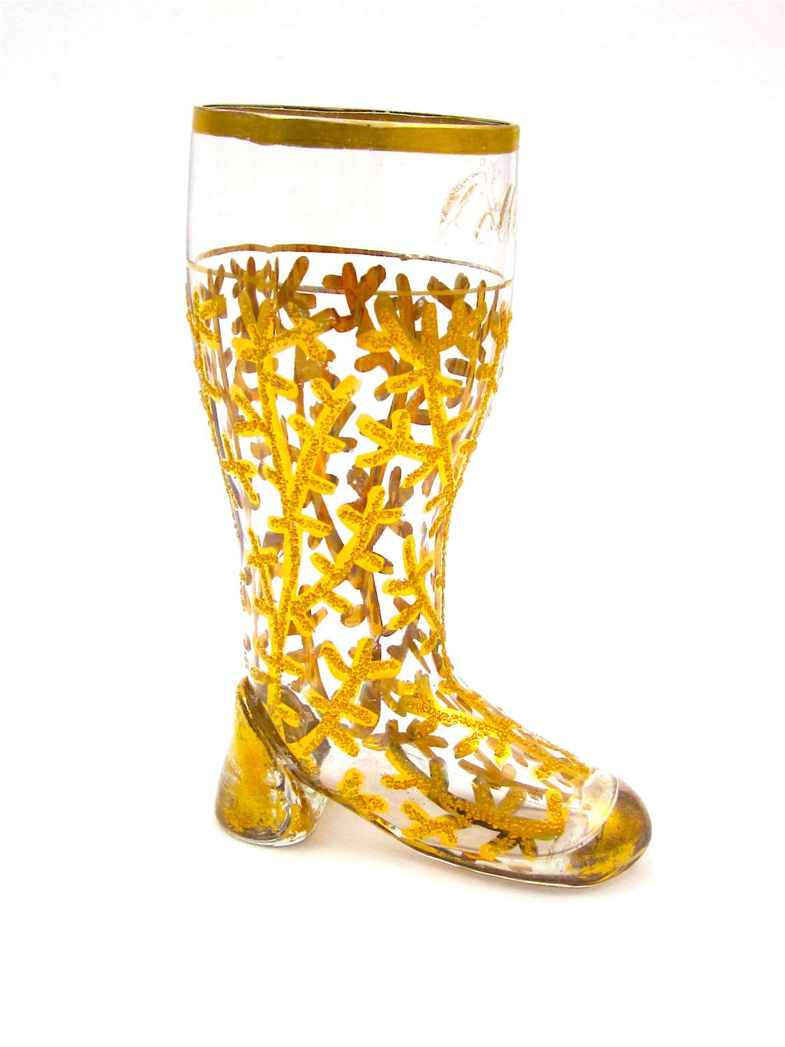 Antique Bohemian Whimsical ClearGlass Gold Encrusted Boot.