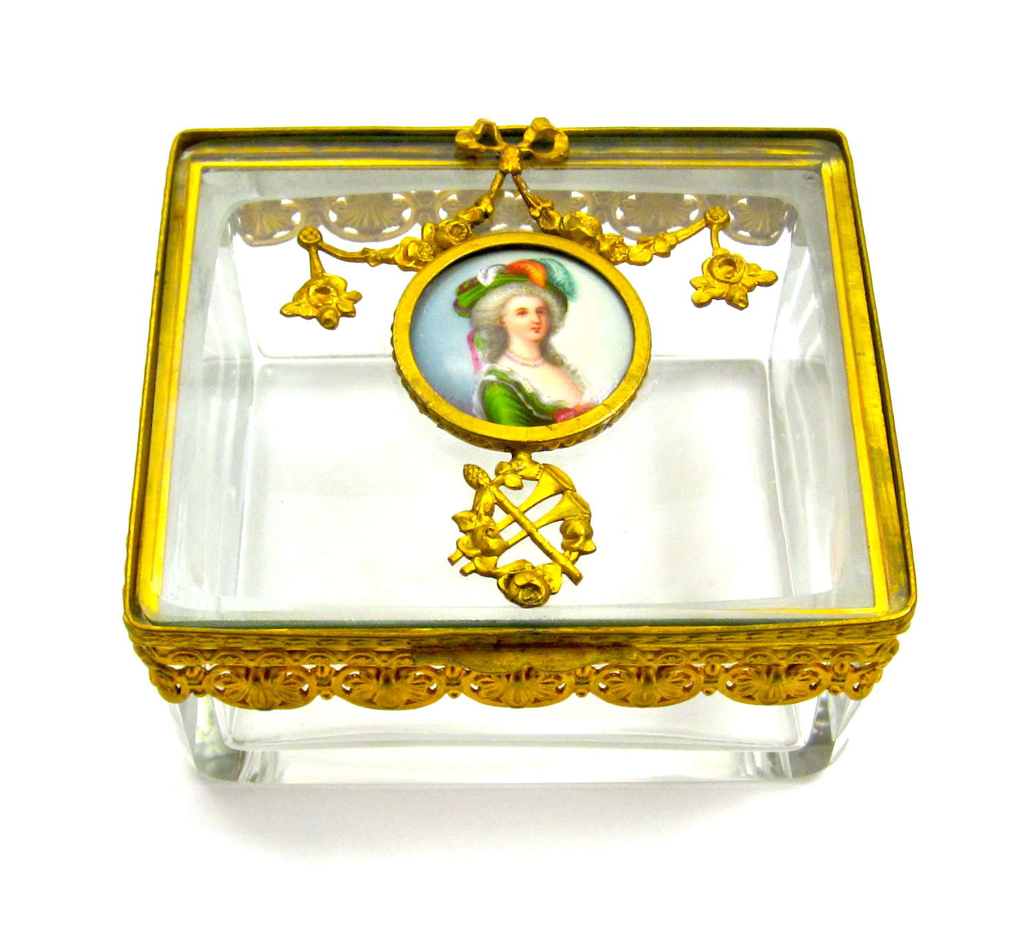 A Fine Palais Royal Dore Bronze and Crystal Casket with Miniature