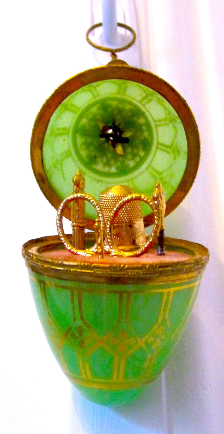 Antique French Palais Royal Green Opaline Glass Egg Etui