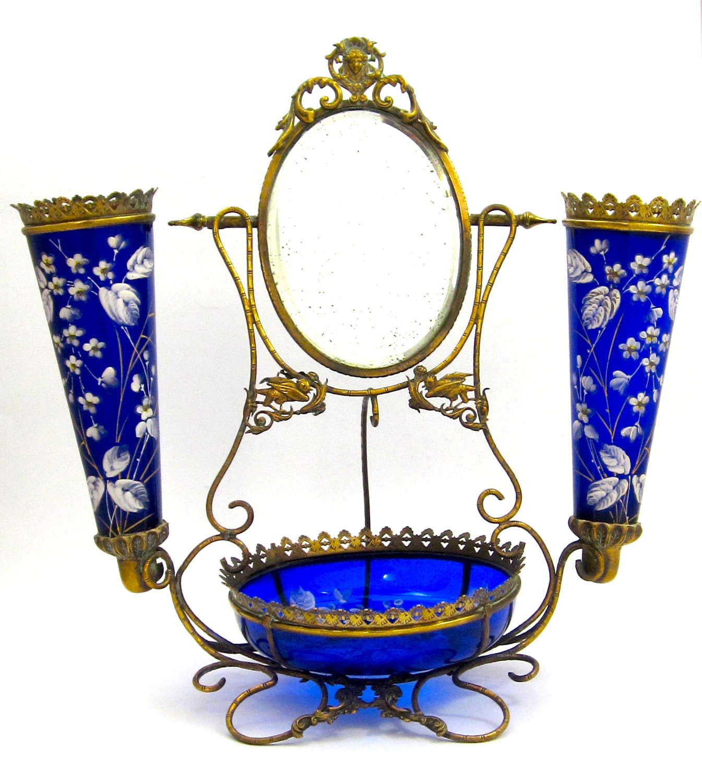 Large Antique French Cobalt BlueGlass Dressing Table Set