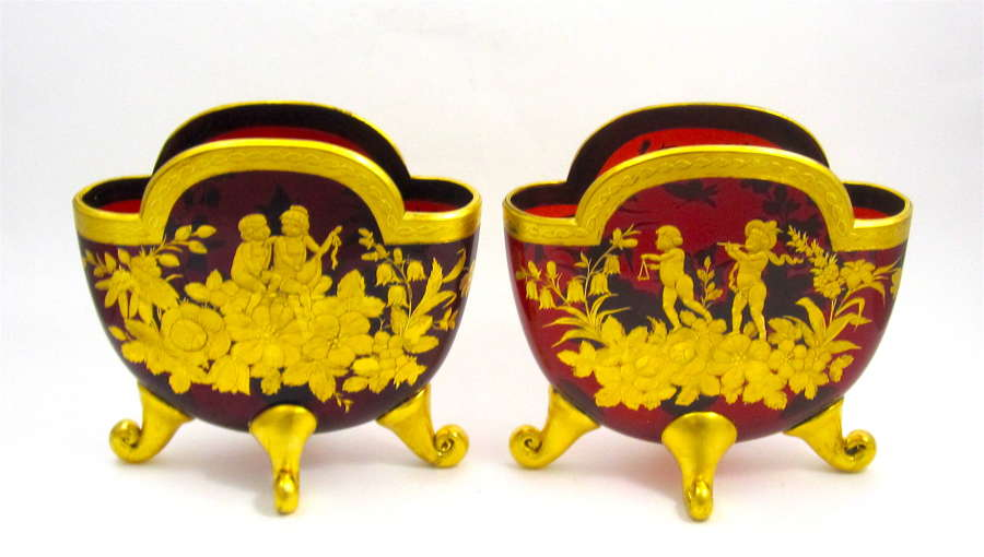 Pair Large RARE Antique MOSER Ruby Glass Vases with Cherubs