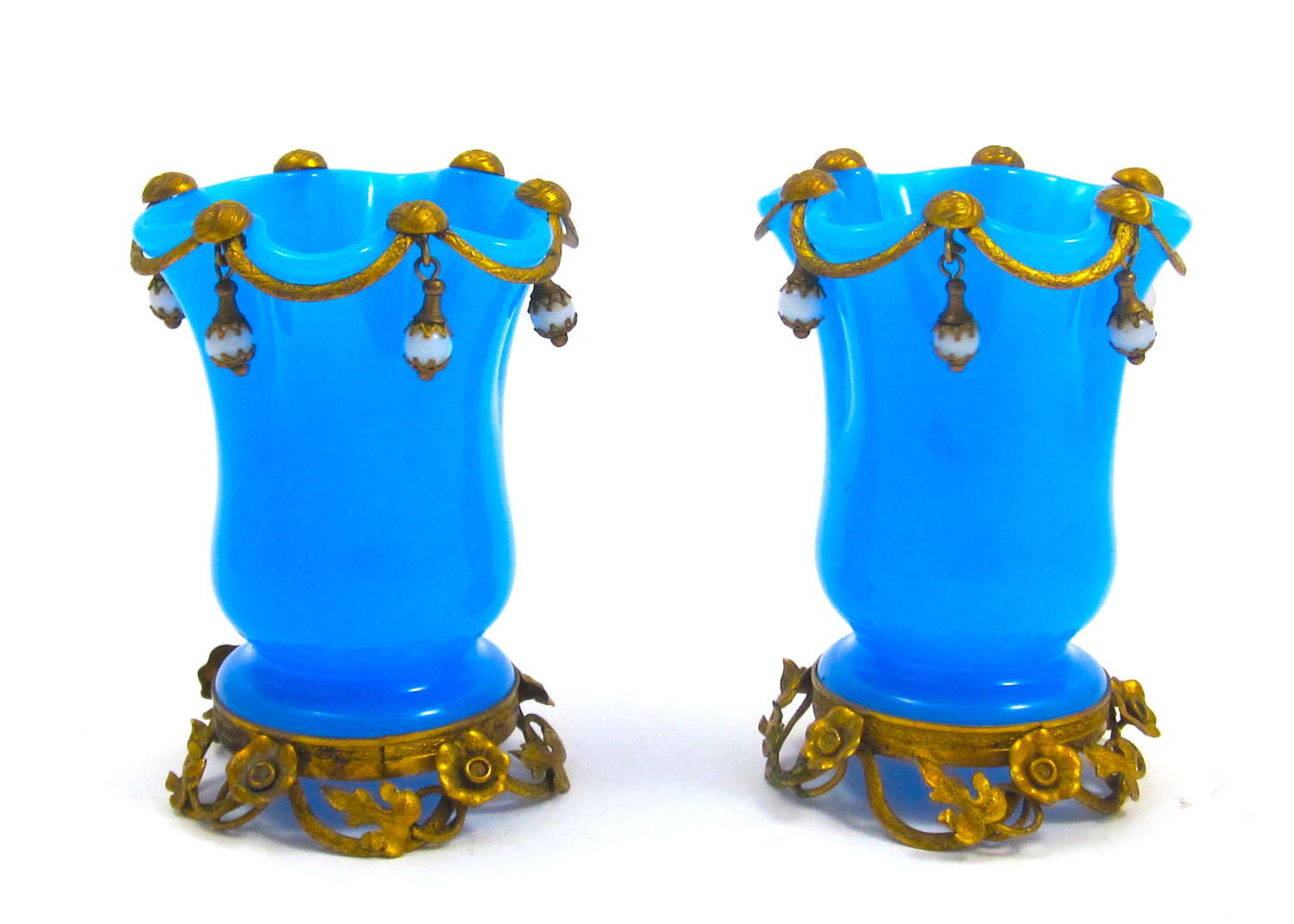 Pair of Antique French Palais Royal Blue Opaline Glass Vases