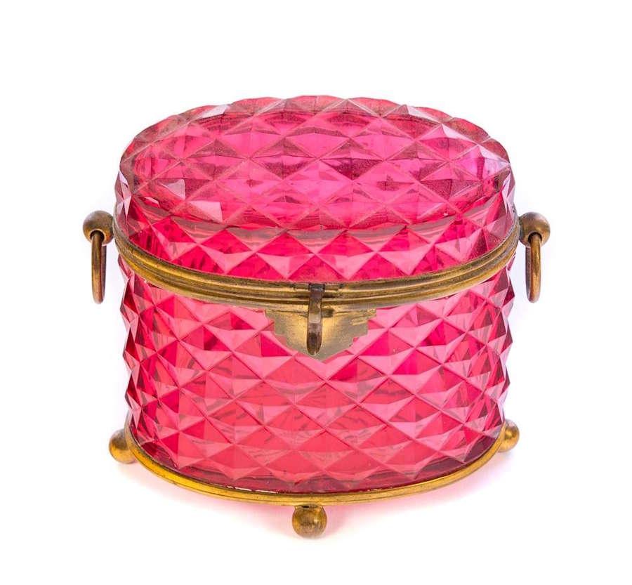 Antique French CutCrystal Cranberry Pink Casket Dore Bronze Mounts