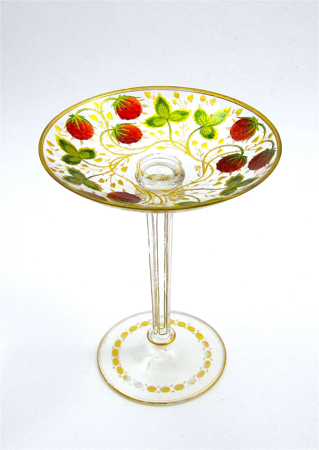 Antique Bohemian MOSER Enamelled TazzaDecoratedwith Strawberries