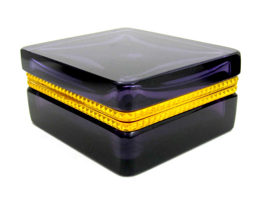 Antique Amethyst Glass Casket Box with Fancy Dore Bronze Mounts