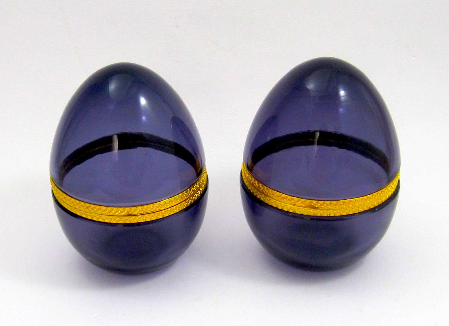 Pair of Large Amethyst Glass Egg Caskets with Dore Bronze Mounts