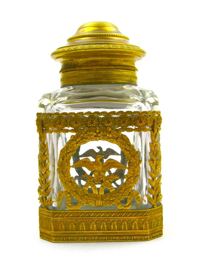 A Large Antique Napoleon III Cut Crystal and Bronze Perfume Bottle