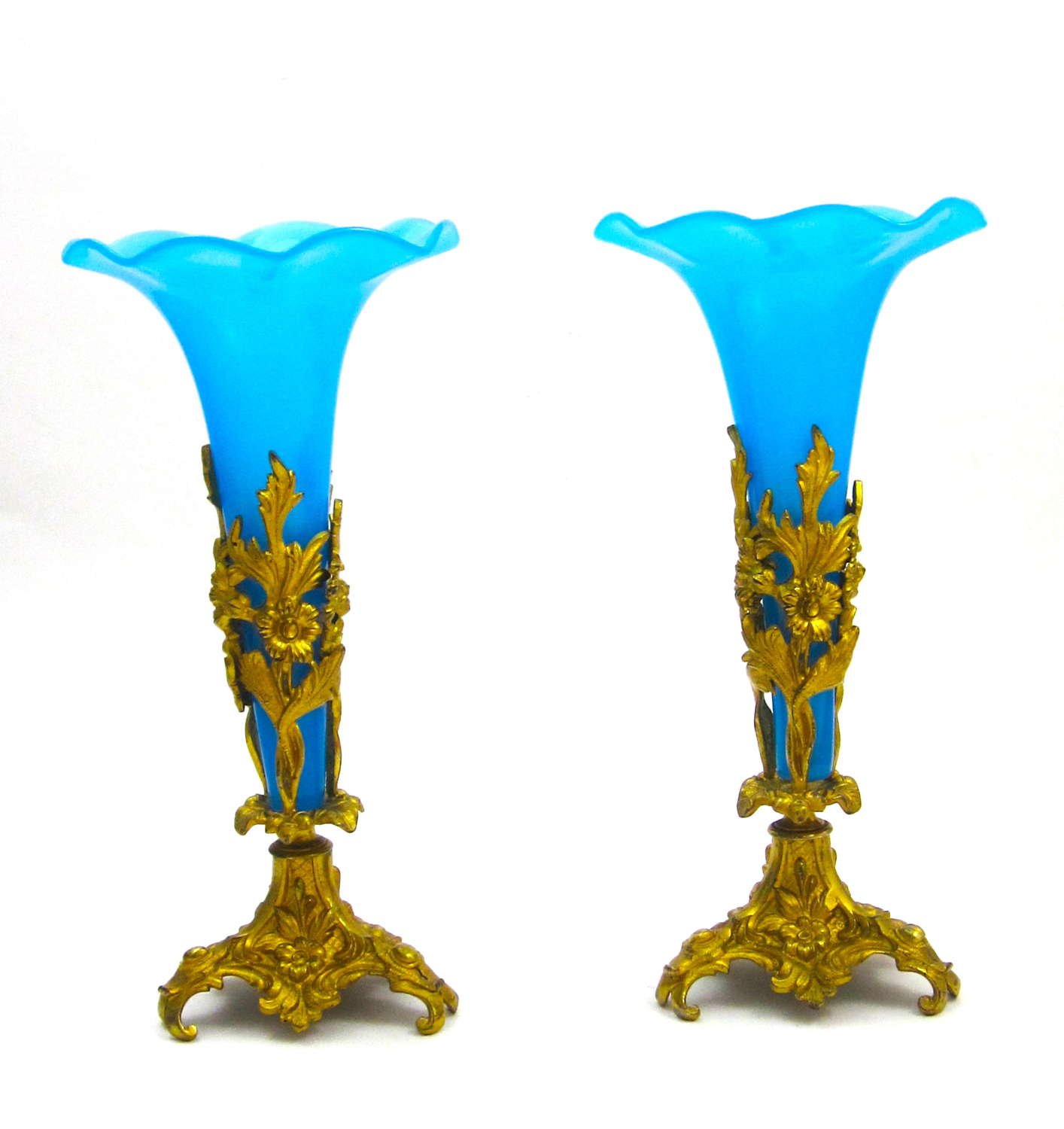 Pair Antique French Blue Opaline Glass Fluted Vases with Dore Mounts