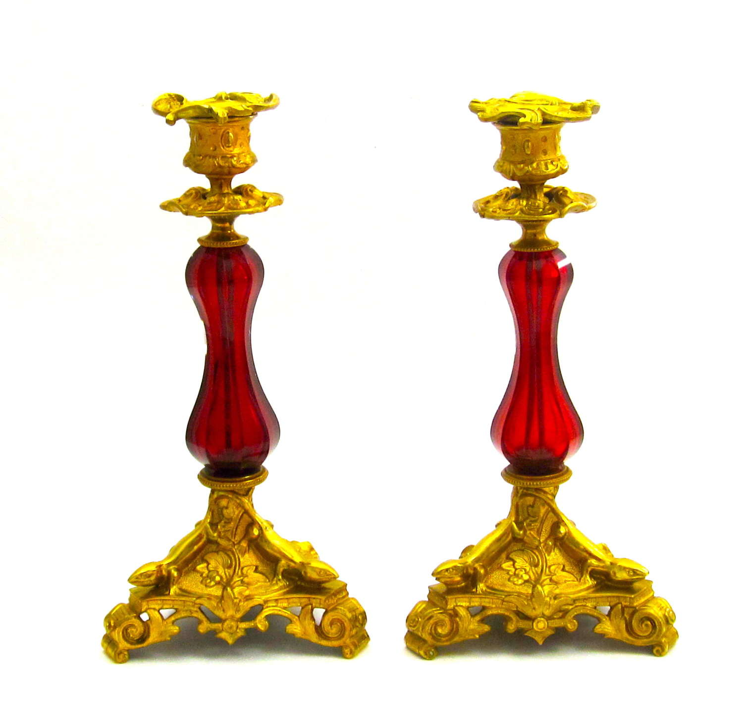 Pair of Super Antique French Ruby Red Crystal Candlesticks