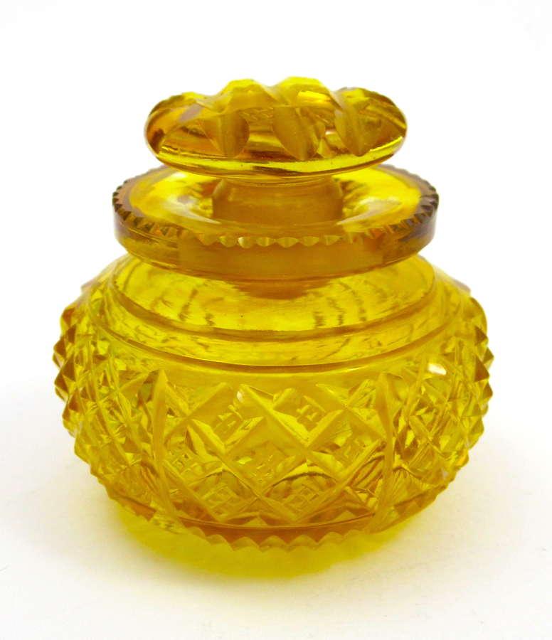 Miniature Antique Amber Cut Crystal Perfume Bottle