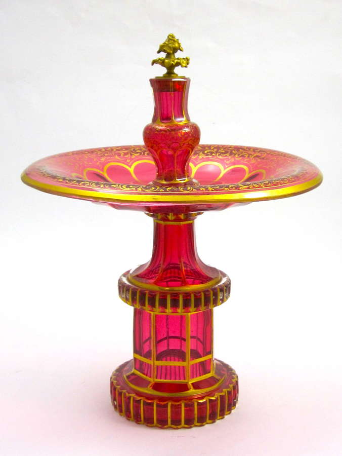 A High Quality Tall Antique Bohemian CranberryGlassCentrepiece