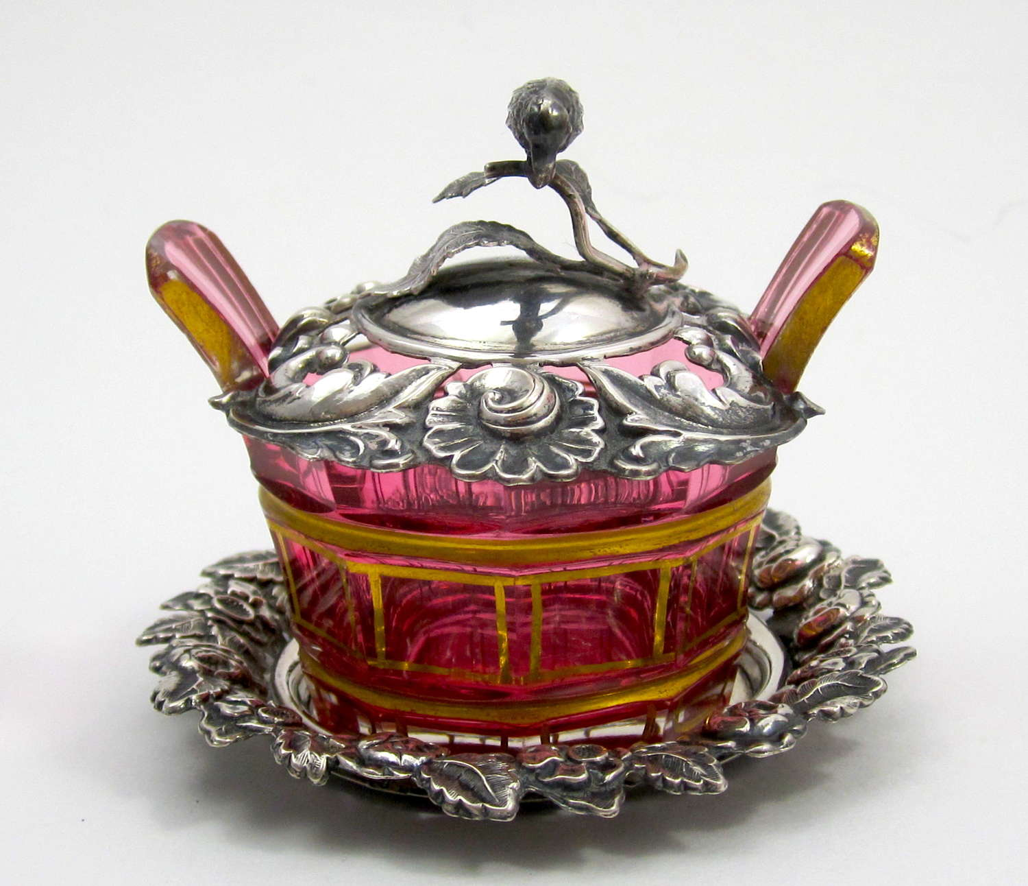 Miniature Antique French Cranberry Dish with Silver Plate and Lid