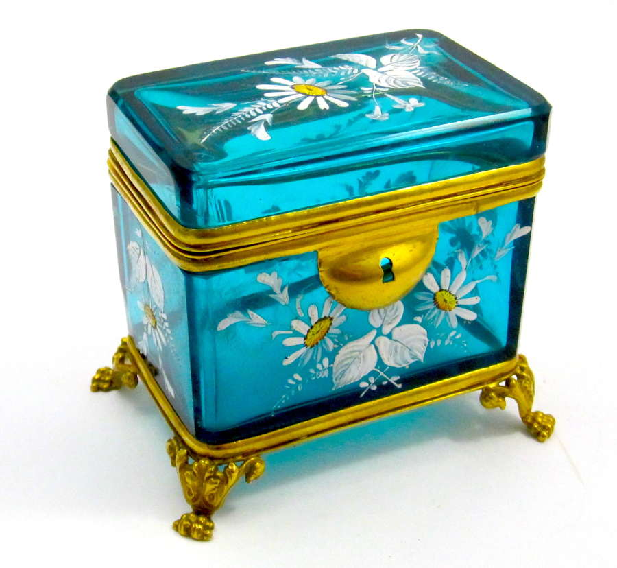 Antique Bohemian Turquoise Casket Box Enamelled with Daisies Flowers