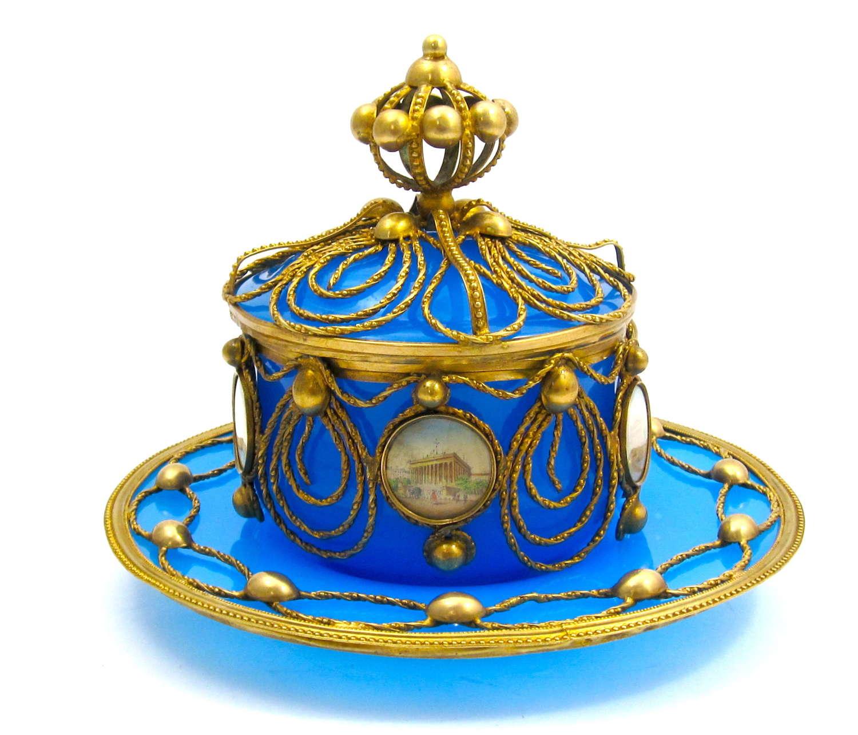 Magnificent Antique Palais Royal Blue Opaline Glass Set