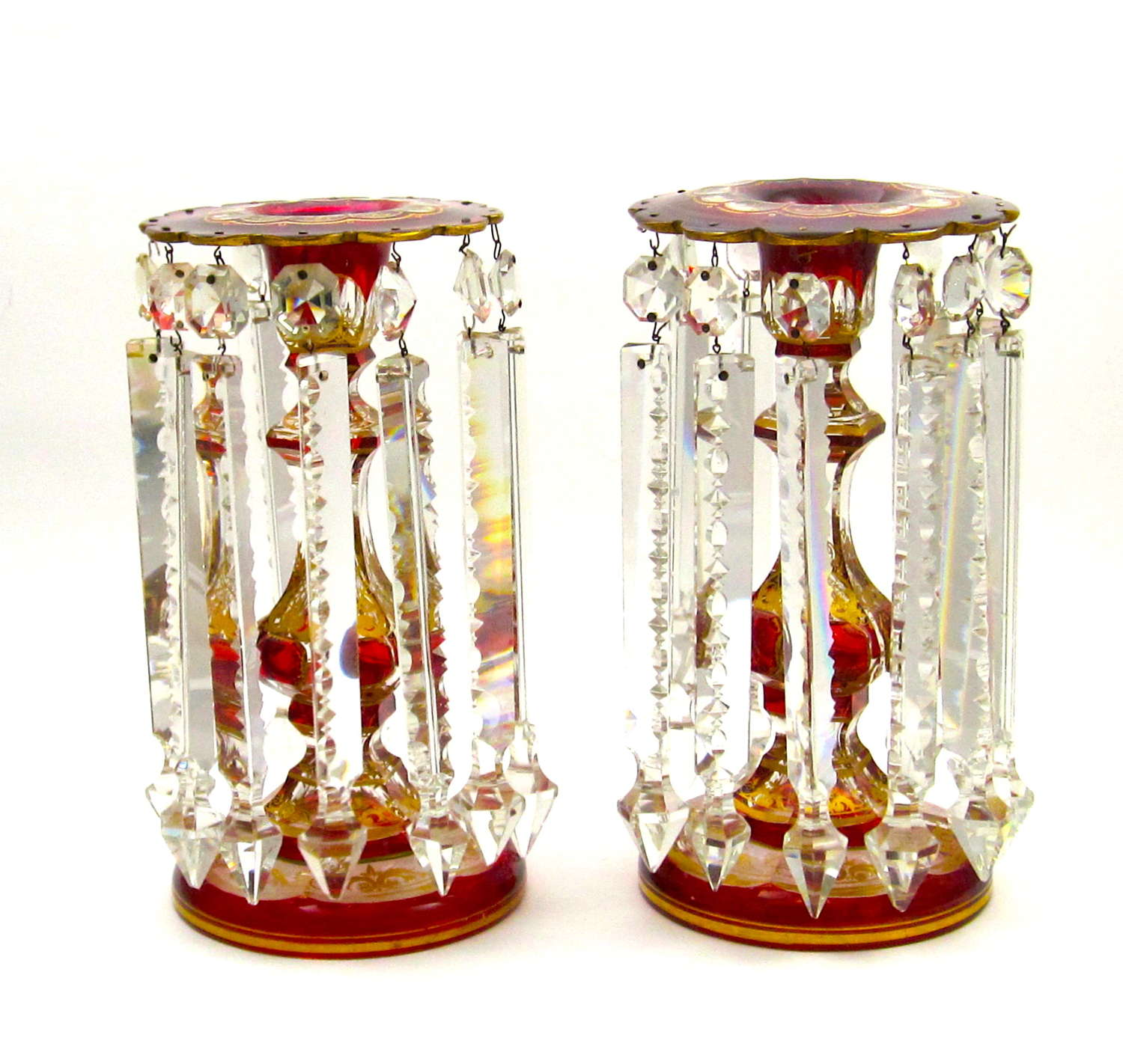 A Pair of Antique Bohemian Glass Lustres Decorated with Red Cabochon