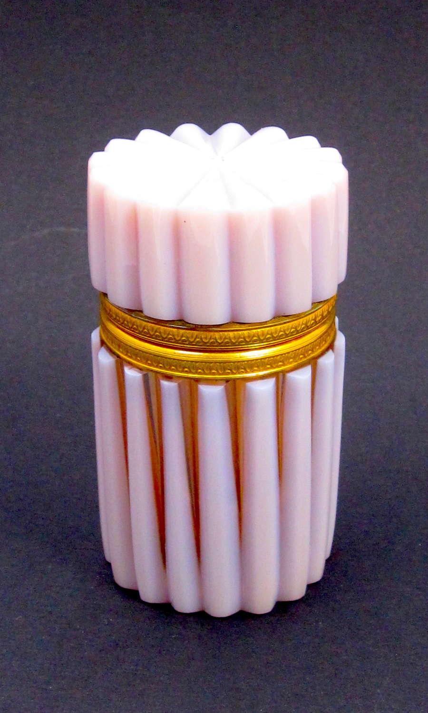 Rare Antique French Hortensia PinkOpaline Glass Casket