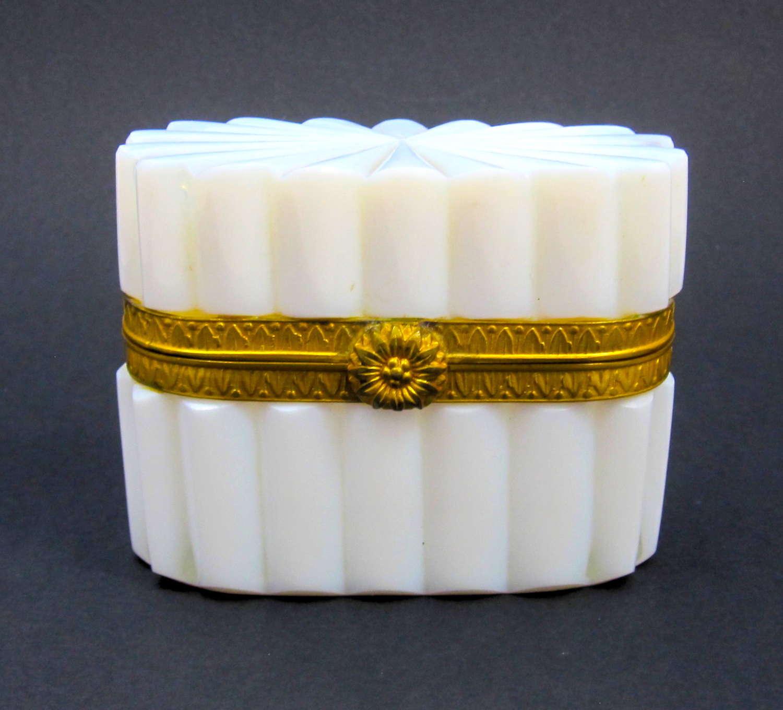 Antique French White Bulle De Savon Opaline Glass Casket