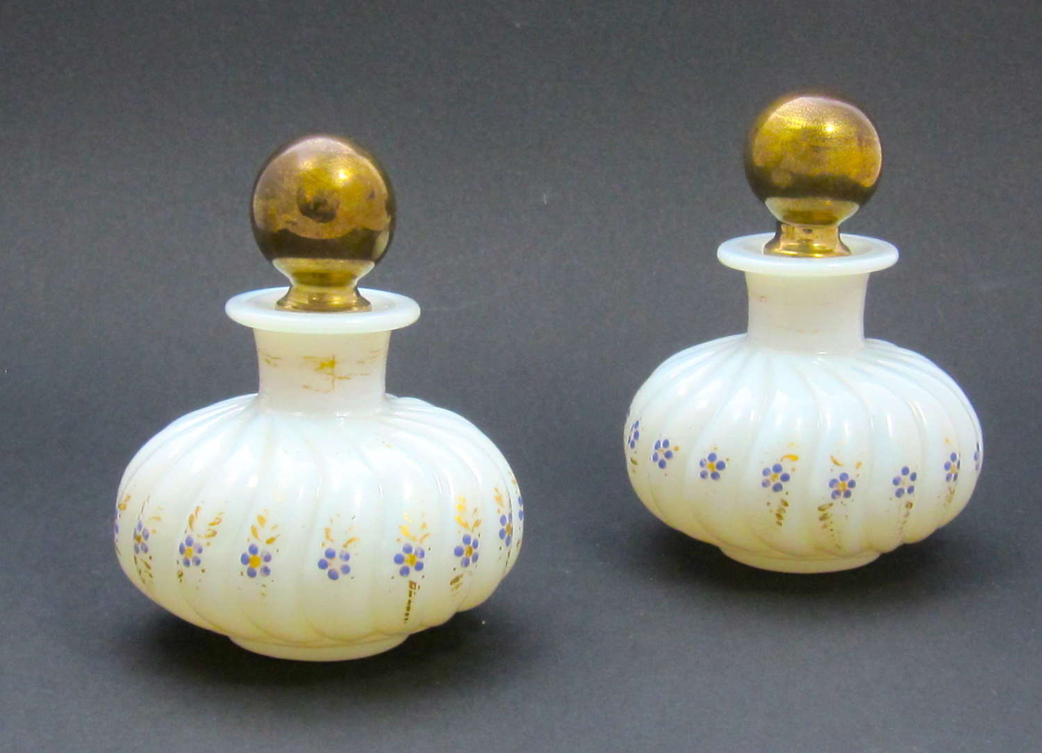 Pair of Antique Baccarat Opaline Perfume Bottles with Forget Me Knots