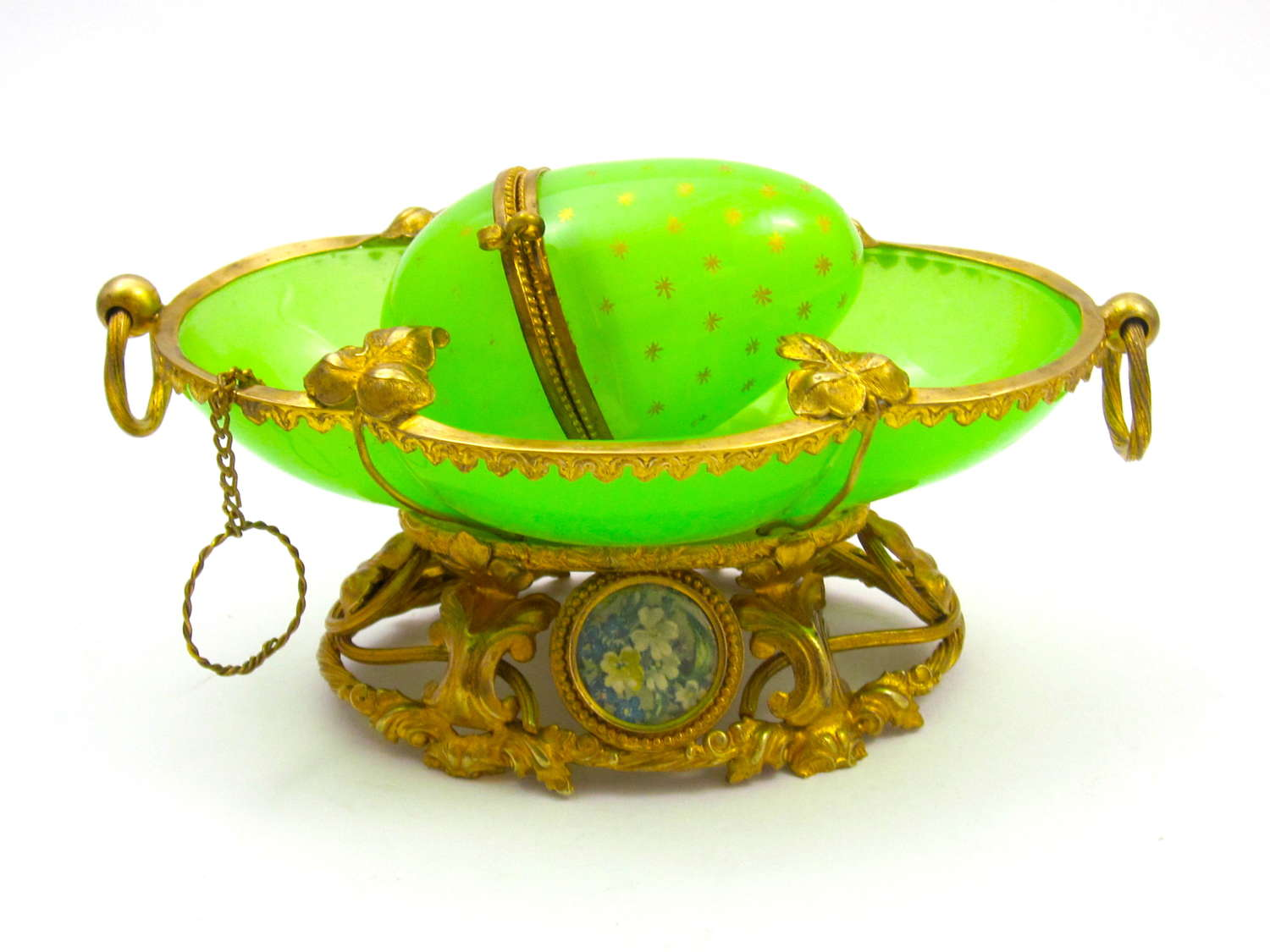 Antique Palais Royal Green Oplaine Dish with Miniatures of Flowers.