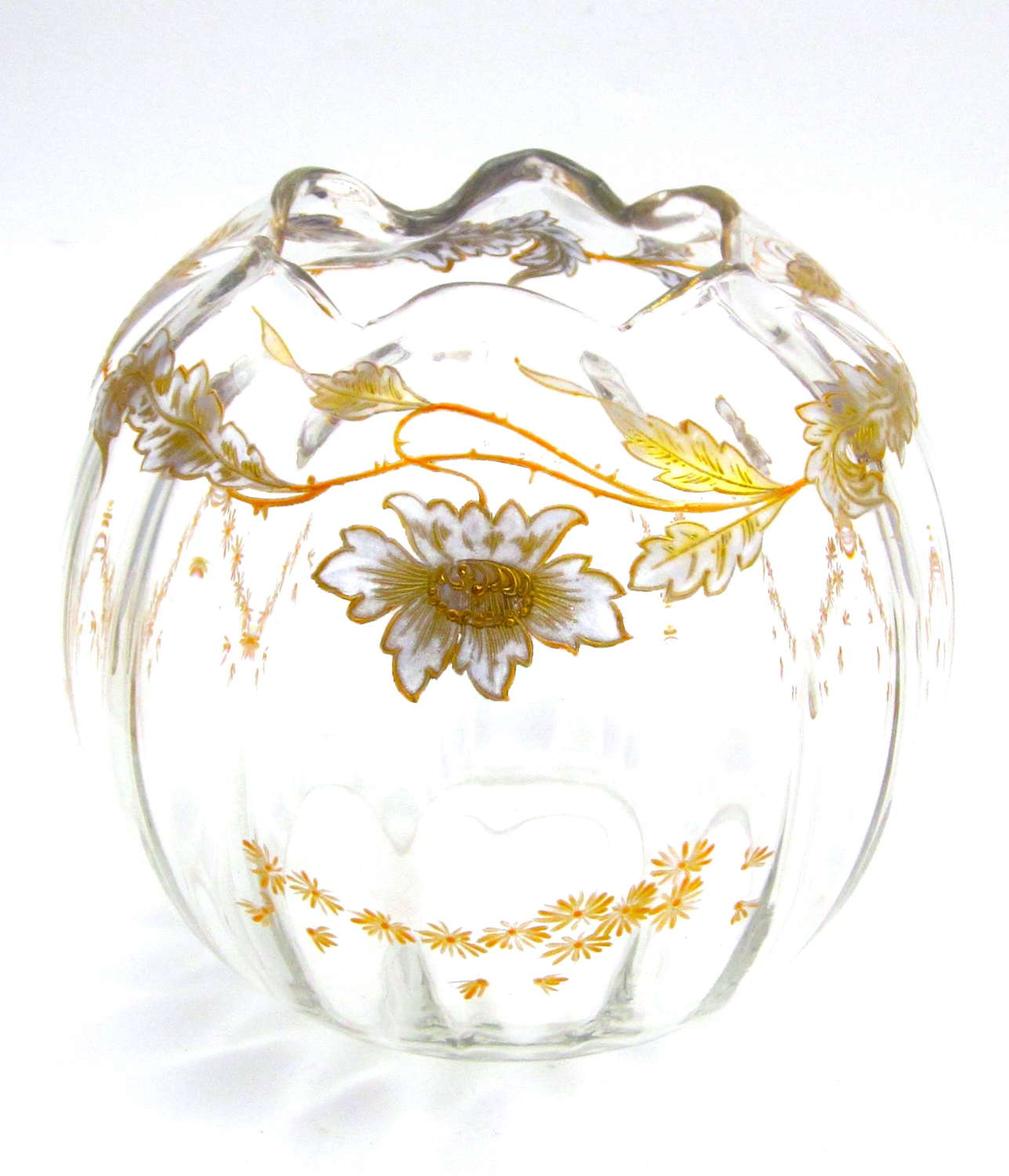 Antique French St Louis Bowl with Pretty Enamelled Daisy Design.