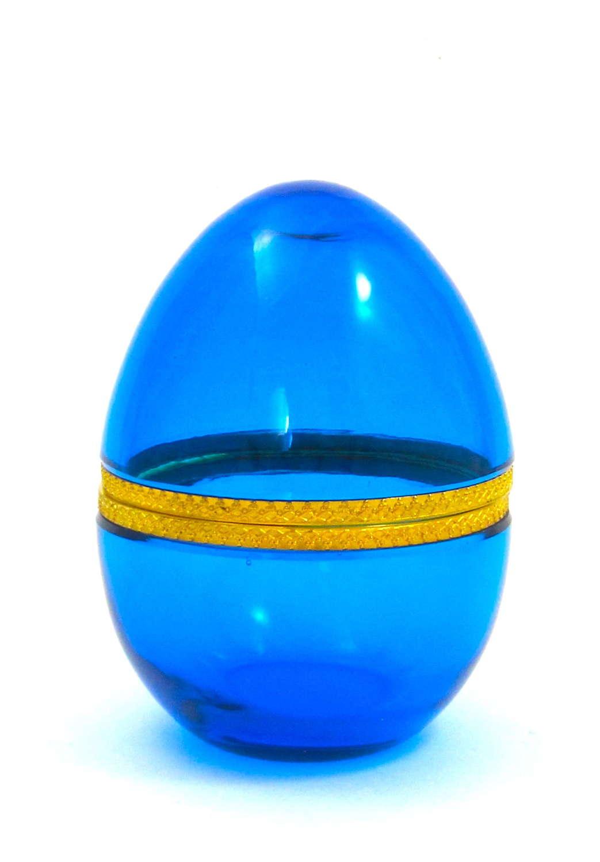Large Antique ClearBlue Opaline Glass Egg Casket Box
