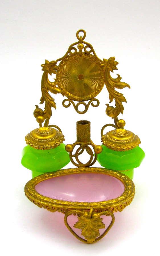 A Beautiful Palais Royal Opaline Glass Ink SetSet and Watch Holder