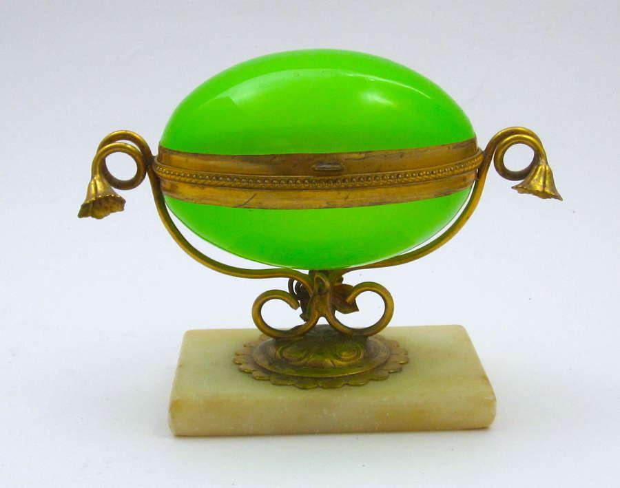 Antique French GreenOpaline Glass Egg Shaped Box