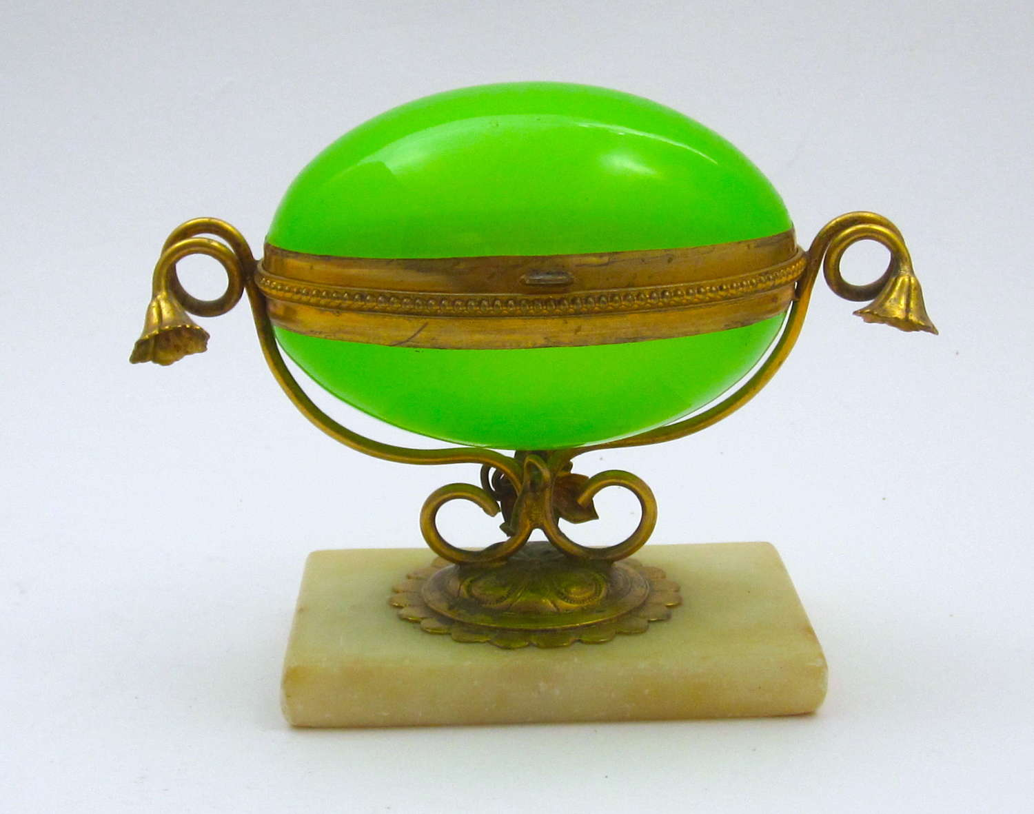 Antique French Green Opaline Glass Egg Shaped Box
