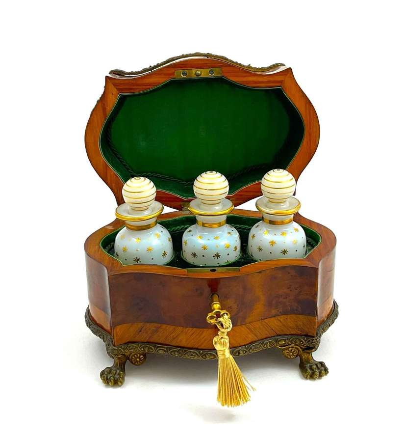 Large Antique Palais Royal Perfume Casket in Wood Marquetry