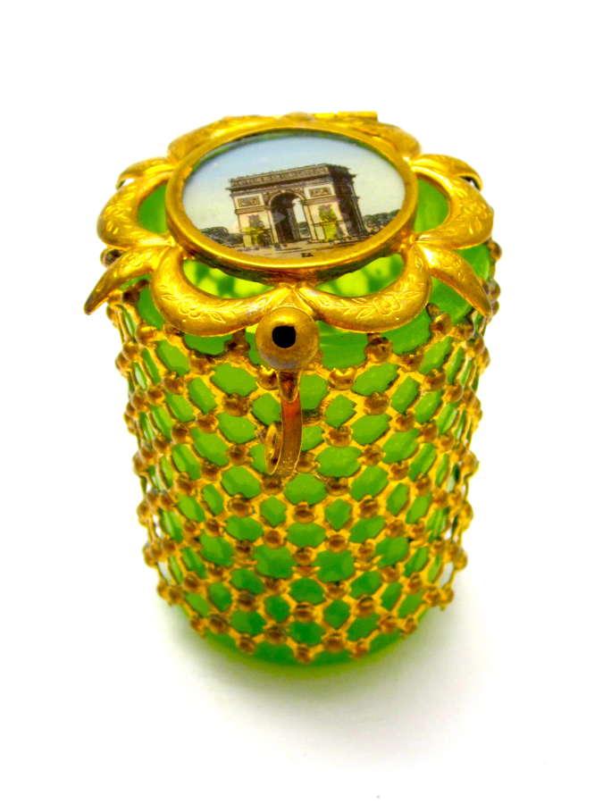 Antique Palais Royal Green Opaline Glass Box with Miniature