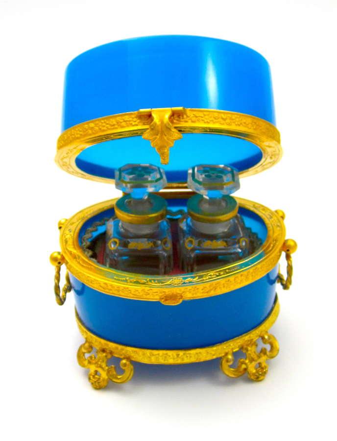 Antique Baccarat French BlueOpaline Glass Perfume Casket