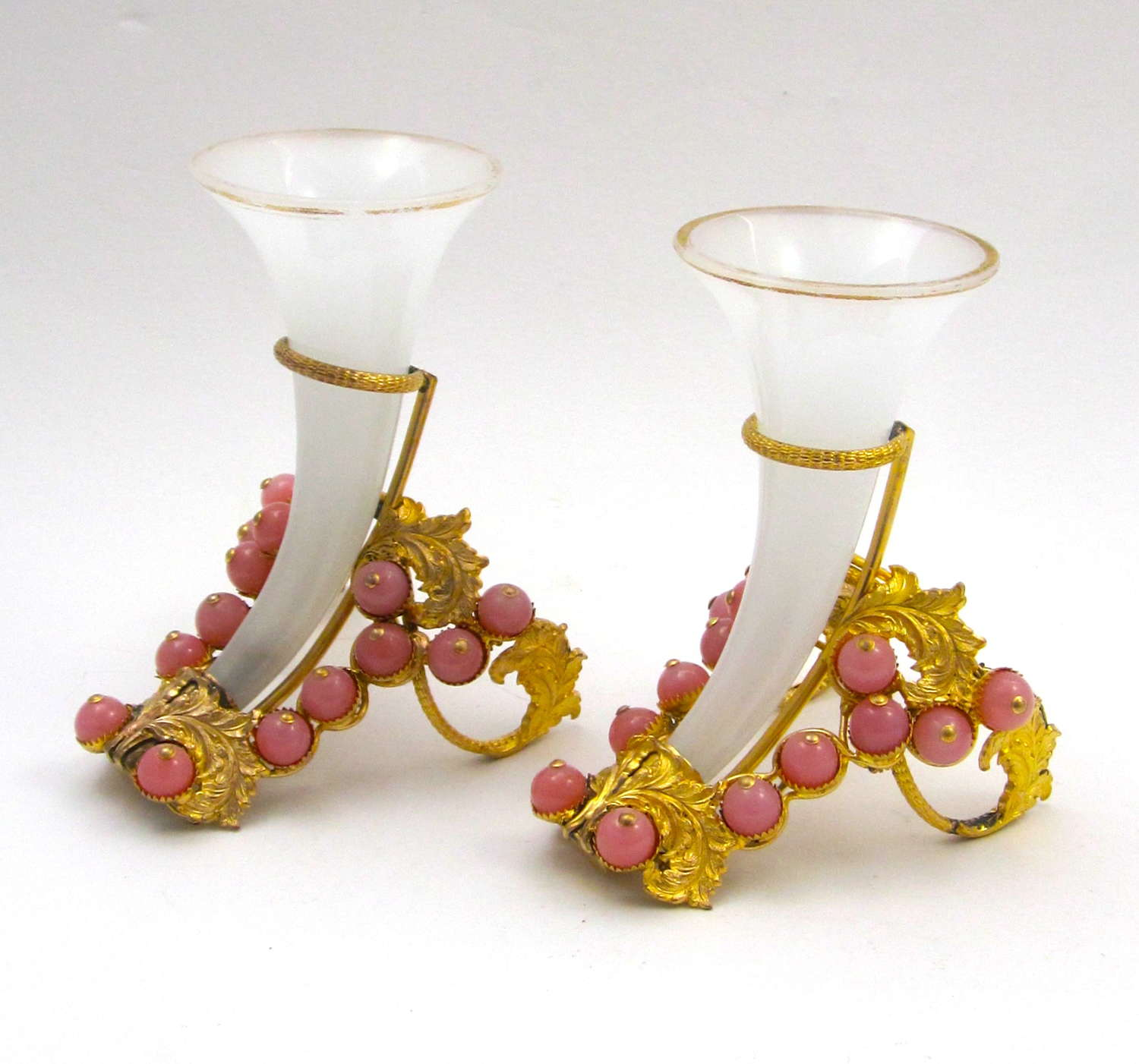 Pair of Rare Antique French White Opaline Glass Cornucopia