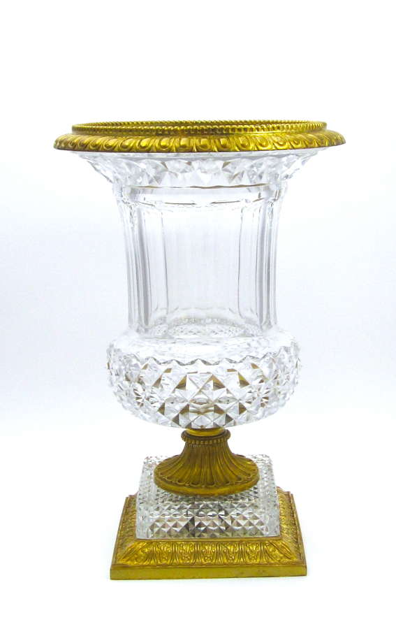 Very Large Antique Baccarat Cut Crystal Glass Campana Shaped Vase