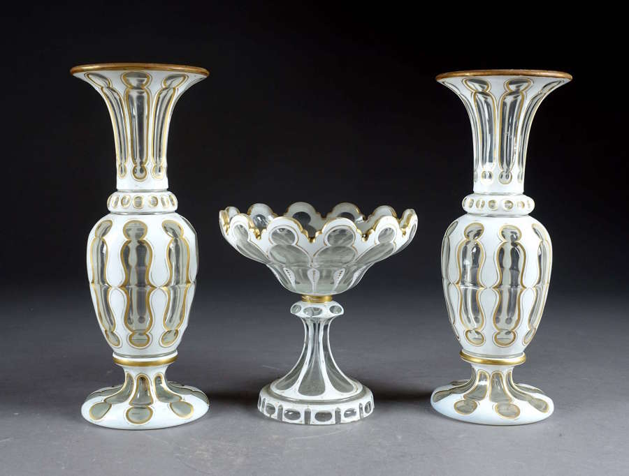 Antique Garniture of Bohemian White Overlay Glass Vases