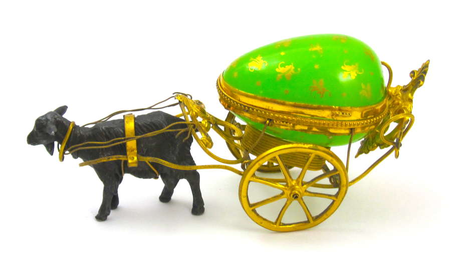 Antique Palais Royal Green Opaline Glass Egg Carriage