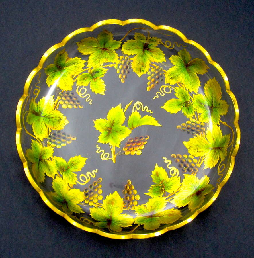 Large Stunning Antique Bohemian MOSER Enamelled Plate