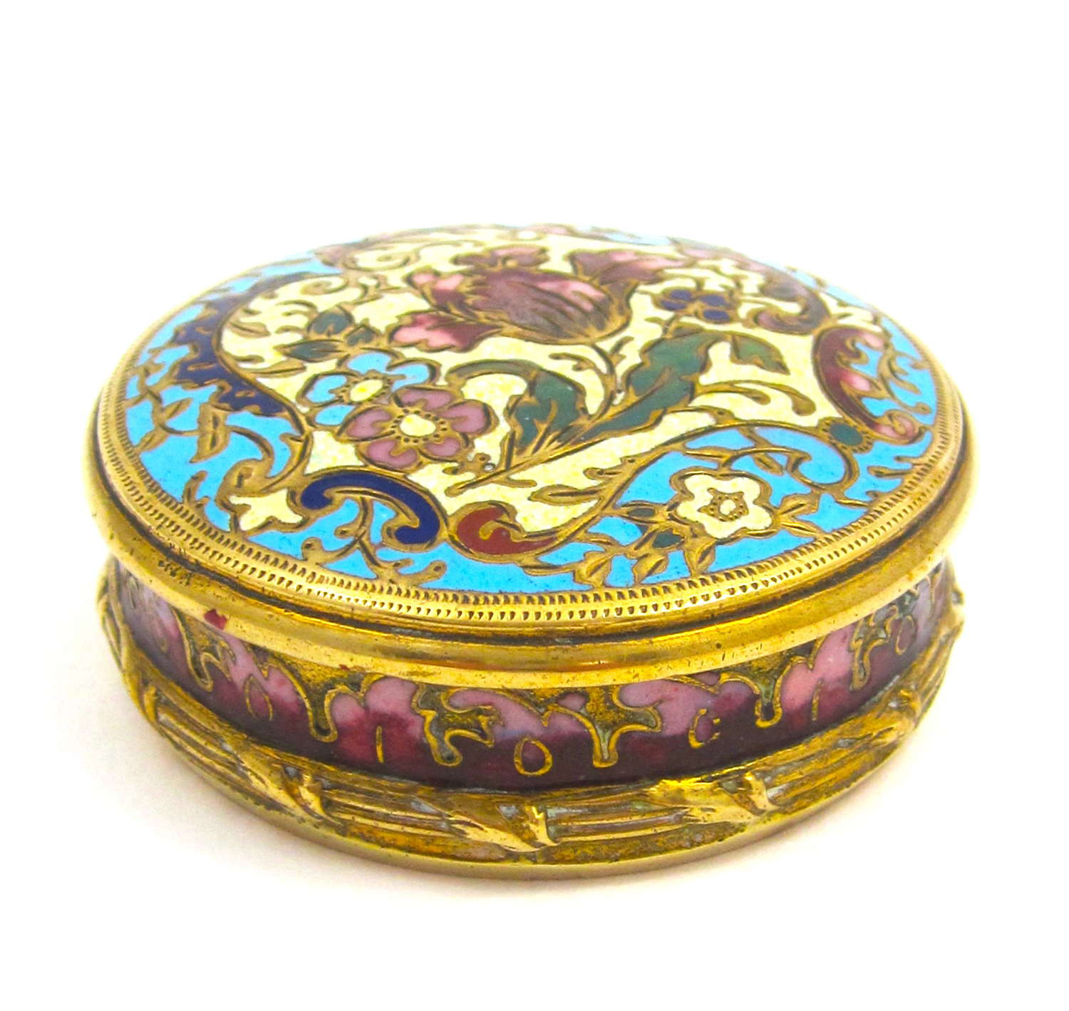 Pretty Antique FrenchChamplevéBox in Rose Pink, Turquoise & Green