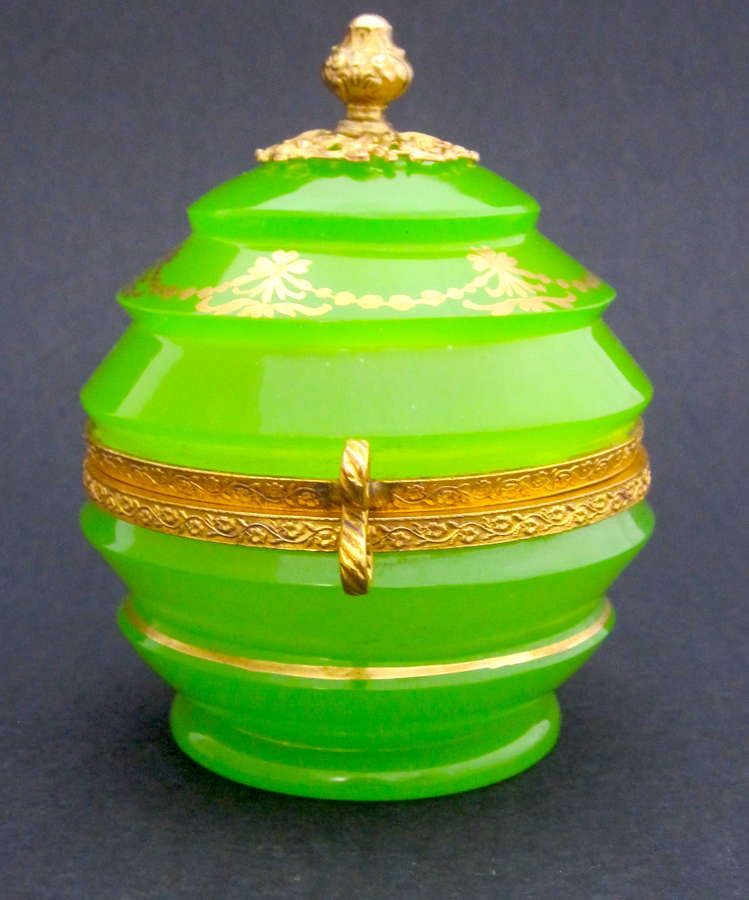 Exceptional Quality Palais Royal Green Opaline Glass Box with Perfect