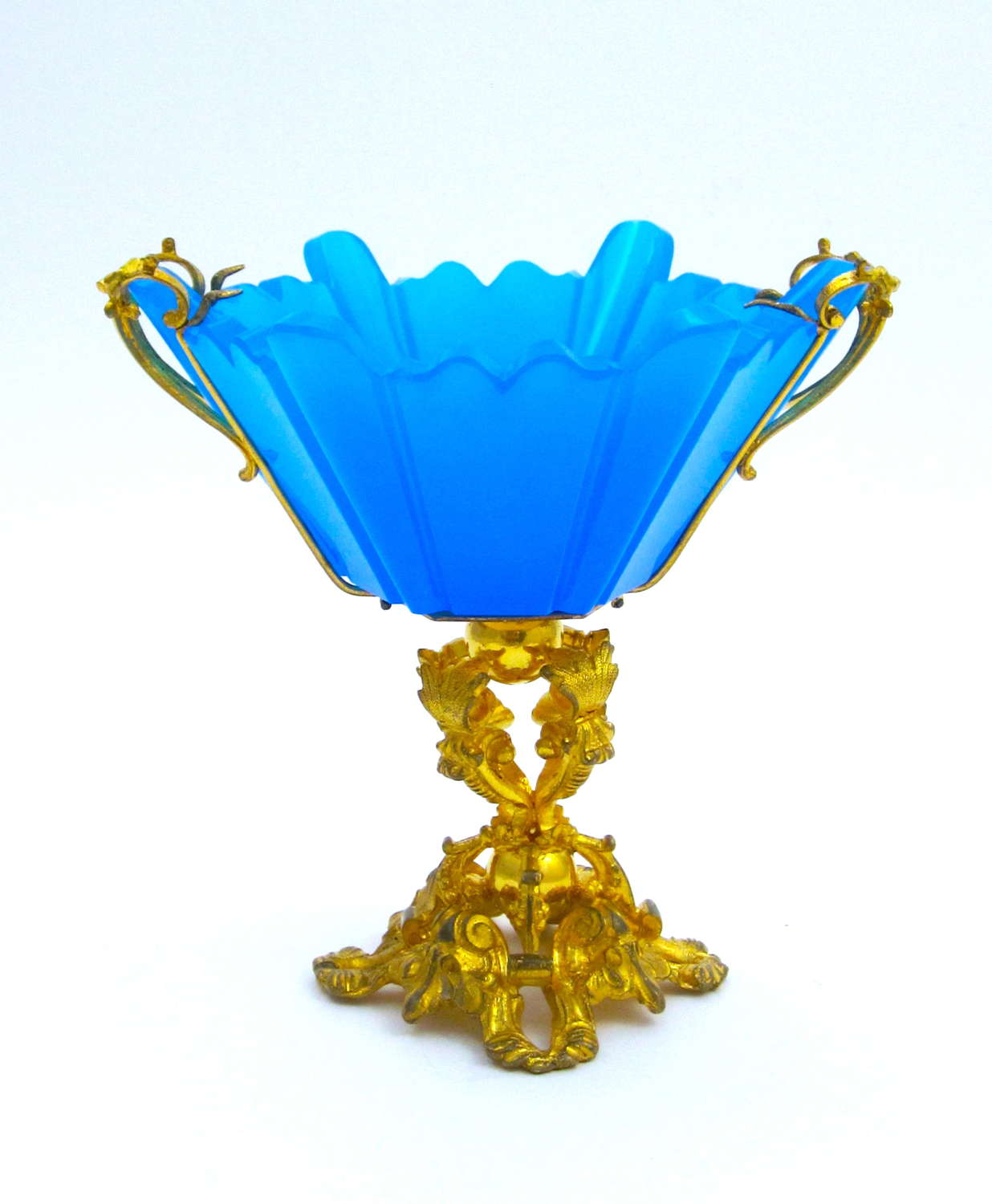 A Fine Quality Antique French Blue Opaline Cut Crystal Bowl